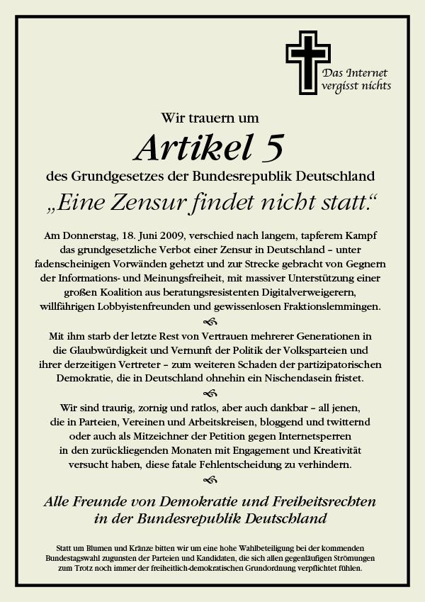 R.I.P Artikel 5 GG
